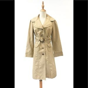 Anthropologie Sitwell Khaki Belted Trench Coat